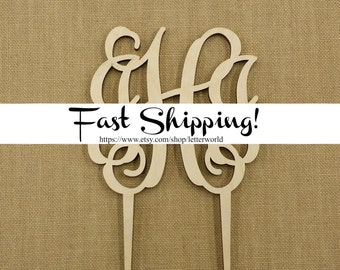 Wooden Monogram Cake Topper - Unfinished Vine Script Monogram Cake Topper - Wedding Cake Decor - Initial Cake Topper