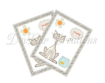 Whimsical Cat Kitten Note Cards Digital Download Printable Card
