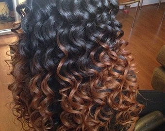 Kinky Curly Curl Brazilian ombre Dip Dye Human Double Weft Clip In Hair Extensions     #1B Off Black  #33 Chestnut