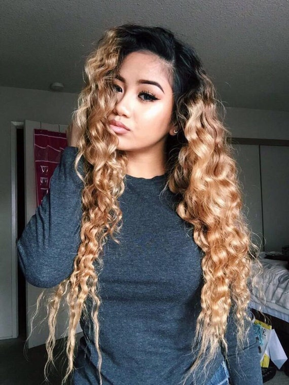 Custom U Part Wig Virgin U Part Brazilian Wig Deep Wave Ombre
