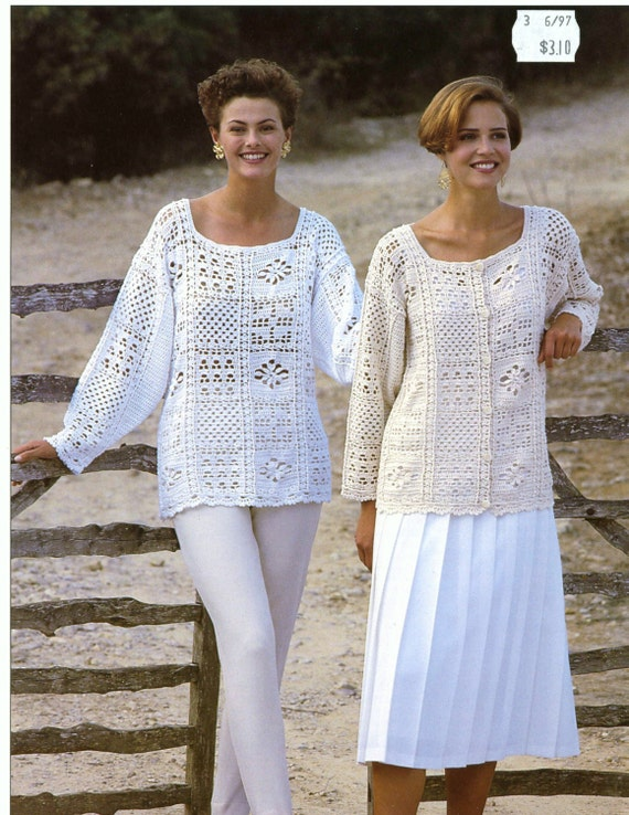 Crochet Patterns For Women s Cardigans : CROCHET PATTERNS Womens Tunics Sweaters Jacket Cardigan Tops