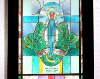 Salvaged stained glass design