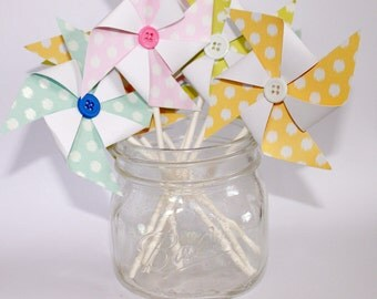 18 Polka Dot Pinwheel Cupcake Toppers- Pink, Blue, Yellow, or Green- Multiple Sizes
