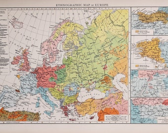 1900 Antique Times Map, Europe, Ethnographic Map