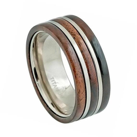 mens wood ringstitanium wedding bandtitanium by simplenunique