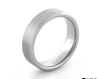 6mm Tungsten Ring - Brushed Silver w/ Beveled Silver Edges -  Men's Wedding Ring - Women's Ring - Wedding Band  - Size 5 to 9 w/ Half Sizes