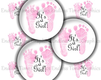 It's A Girl Bottle Cap Images ~*DIGITAL*~ Gender Reveal Baby Footprints ~*Cupcake Toppers*~ 1 Inch Printable Circles