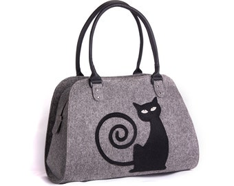 Cat handbag Felt cat purse Cat bag Felted bag Felted purse Grey handbag Felt shoulder purse