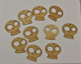 10 Wood Cut out Dia de los Muertos (Day of the Dead) Sugar Skulls
