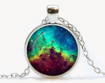Heart Nebula Glass pendant. Galaxy necklace. Space, universe jewelry, birthday gift
