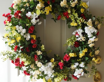 Summer Wreath/ Large XL Wreath/ Roses Wreath/ Yellow Pink Red White Green Large Wreath Extra Large wreath 34 in availble