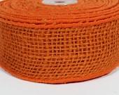 """2"""" Wired Jute Burlap Ribbon - Orange - 10 Yards"""