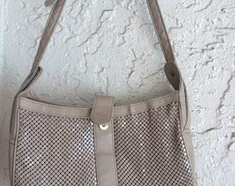 Vintage Mesh Shoulder Bag, Whiting and Davis International, Mesh Handbag, Leather and Mesh Handbag, Mesh Shoulder Bag, Tan Mesh Handbag