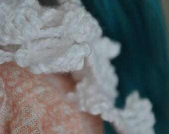 BJD, Msd, Yosd, SD, white crochet scarf
