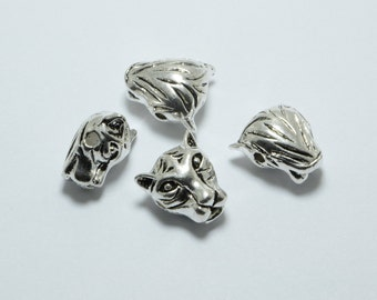 15pcs Tiger Head Beads in Antique Silver, Animal, Zoo, Leopard Beads, Side Drilled Metal Beads #SD-S7634