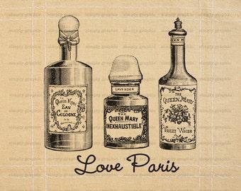 Love Paris, Poster Art, Digital Art Print, Instant Download, Perfume Bottles, Beauty, Digital Download, French Ephemera, Printables b194