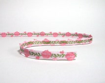 Pink and Green Tulip Woven Cotton Trim
