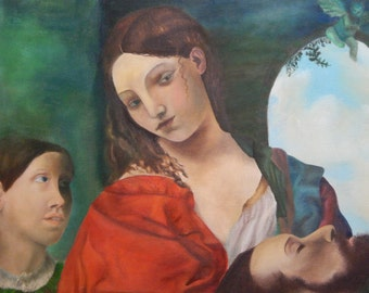 Oil Painting - 24x24 - Salome with the Head of John the Baptist - Reproduction of Titian Masterpiece