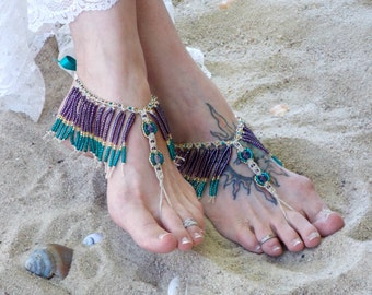 Barefoot Sandals, fringe boho sandals, foot Jewelry, hemp barefoot jewelry, gypsy, bohemian, teal, purple more colors, fringe beaded anklet
