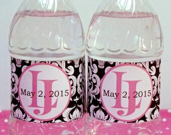 Custom Damask Wedding Welcome Waterproof Water Bottle Labels