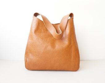 Brown Buffalo Leather Shoulder Bag / Women  Medium Tote Bag / Summer Everyday Bag /Tan Brown