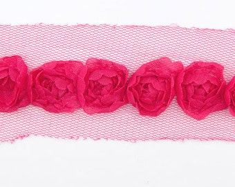 SMALLROSE-HOTPINK by Riley Blake Sew together notions, rose trim by the yard, rosette ribbon trim by the yard, sewing quilting apparel trim