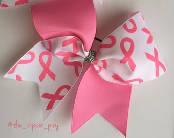 Pink and white Breast cancer awareness cheerbow