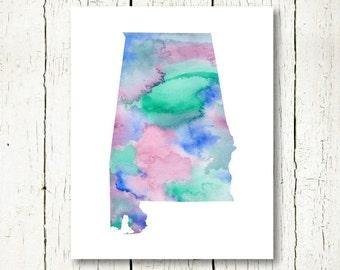 alabama watercolor alabama print, alabama state silhouette, alabama map, alabama printable alabama wall art digital instant download jpg
