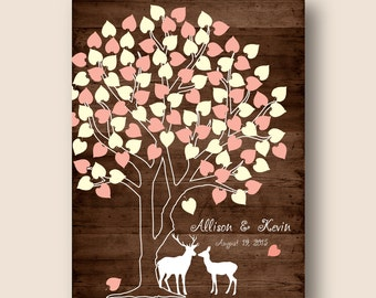 wedding signature poster printable wedding guest book tree, signature tree for 100, wedding wish tree poster, woodland wedding keepsake pdf
