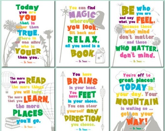 Dr Seuss quote prints, childrens room art set, playroom print set, dr seuss wall art, dr seuss printable, kids room quotes, CUSTOM COLORS