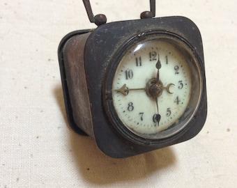 Old brass travel clock