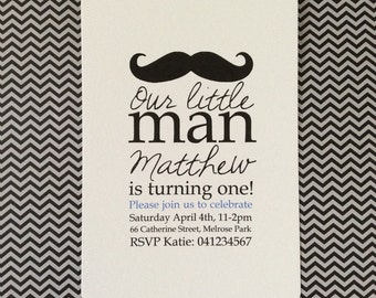 Little Man Moustache Birthday Party Invitation great for 1st, 2nd, 16th etc