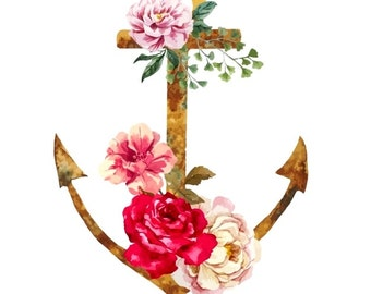 Watercolor Anchor and flowers - Temporary tattoo