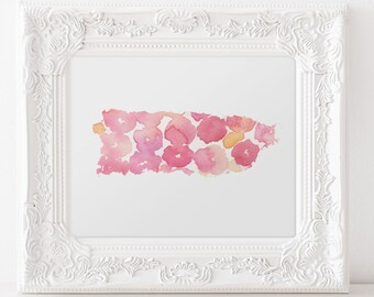 Puerto Rico Floral Hibiscus Watercolor Floral Art Print- States Flower- Hibiscus - 8x10