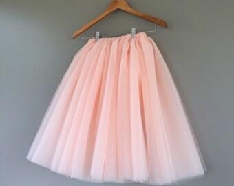 Tulle skirt- adult tutu, two toned, 8 layer blush tutu tulle skirt, peach tulle skirt, blush tulle skirt, Adult Bachelorette tulle skirt