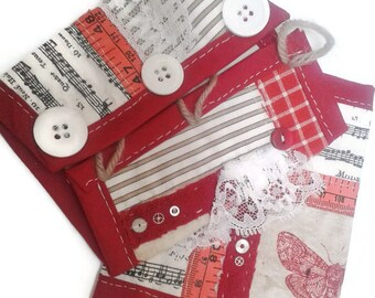 Red and cream fabric steampunk wrist cuffs - arm warmers - fabric bracers - steampunk bracers - handmade - steampunk accessory - upcycled