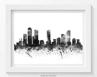 Denver Poster, Denver Skyline, Denver Cityscape, Denver Print, Denver Art, Denver Decor, Home Decor, Gift Idea 02BW