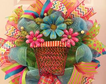 Last one left! Spring wreath, Summer wreath, Beach wreath, Flower wreath, Flower pot wreath, Garden wreath, Summer Decor, Spring decor,