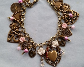 Victorian Heart Charm Bracelet, Floral Charm Bracelet, Rose Charm Bracelet, Valentines Bracelet, Swarovski Bracelet, Handmade Bracelet, OOAK