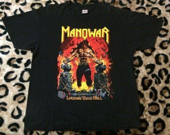 Vtg 90s XL MANOWAR Louder Than Hell Shirt