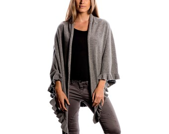 Melange Grey Cashmere Blend Ruffle Shawl/Grey Ruffle Shawl/Cashmere Ruffle shawl