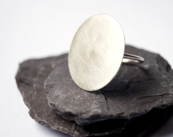 Eclipse Sterling Silver Ring ~ disc, statement piece, geometric, circle, round, moon