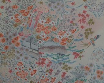 Vintage Japanese Silk Kimono Fabric Phoenix, Camellia and Royal Cart