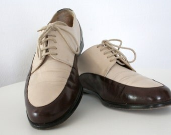two-toned leather brogues / bicolored ecru brown / leather flats / uk 4.5 eu 37.5  us 7b