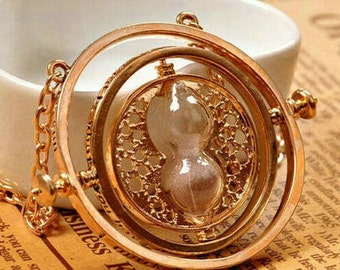 NEXT DAY SHIPPING - Harry Potter Time Turner Pendant - Hermione Granger Hourglass Necklace