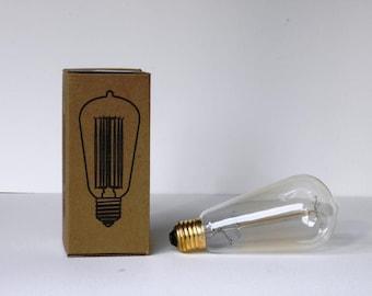 Vintage Edison Filament Bulb (ST64) Teardrop - E27 ES Edison Screw - 220V - 40W