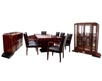 6055 11-Piece Ebony d'Massacar Art Deco Dining Set by Dominique