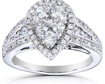 Pear Shape Diamond Engagement Ring 1 Carat (ctw) in 14k White Gold