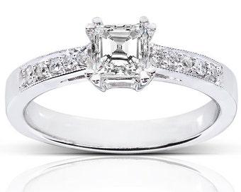 Asscher Diamond Engagement Ring 3/5 Carat (ctw) in 14K White Gold