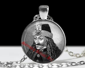 Dracula pendant, Vampire jewelry, Vlad Tepes portrait necklace,  blood, eternity, Transilvania, Romania, fangs, vampire castle #65